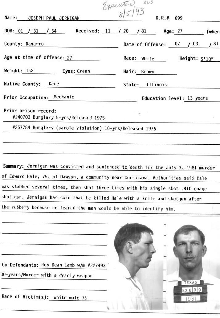 Joseph Jernigan Murderpedia The Encyclopedia Of Murderers